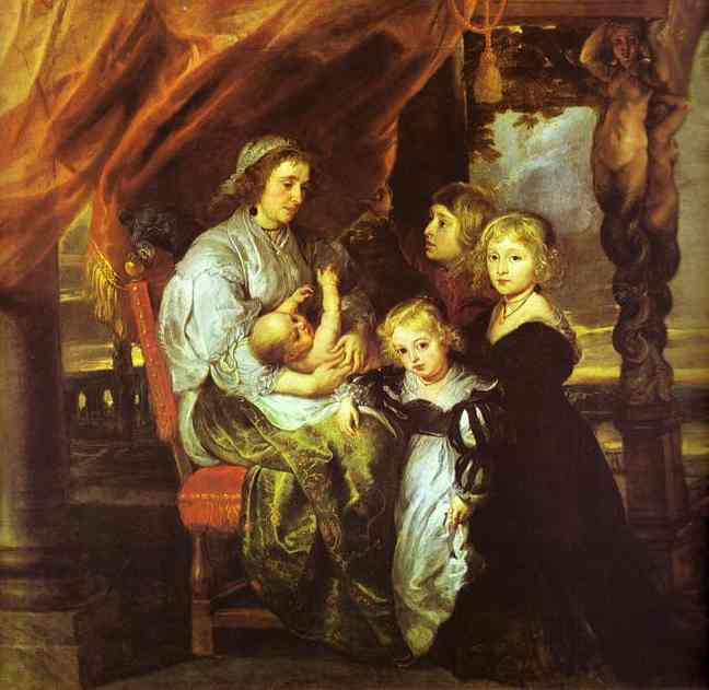 Oil painting:Deborah Kip, Wife of Sir Balthasar Gerbier, and Her Children. 1629-1630