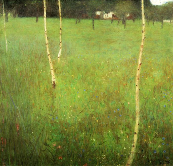 Oil painting:Farmhouses with Birch Trees. 1900