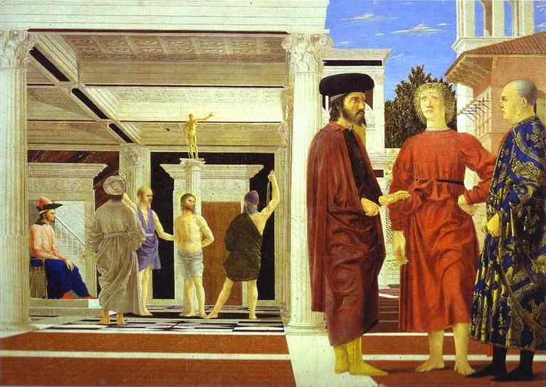 Oil painting:Flagellation. c. 1470
