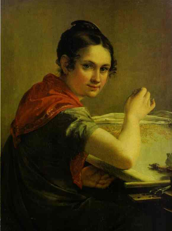 Oil painting:Gold-Embroideress. 1826