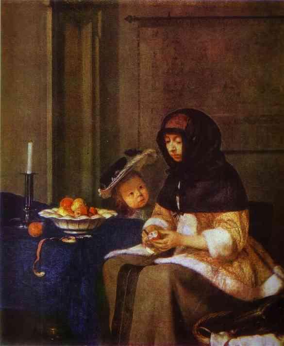 Oil painting:Lady Peeling an Apple. c. 1661