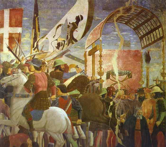 Oil painting:Legend of the True Cross: Battle Between Heraclius and Chosroes. Detail. c. 1452
