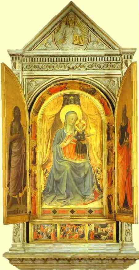 Oil painting:Linaiuoli Tabernacle: Virgin and Child Making the Blessing. Wings open. 1433