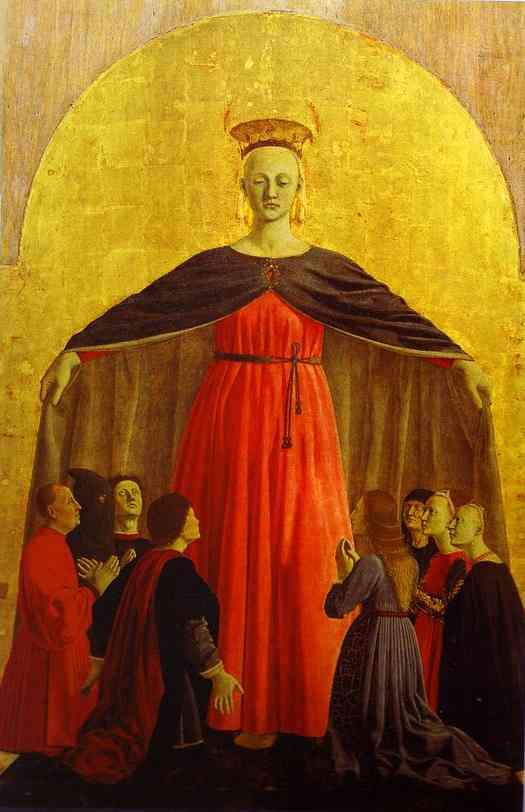 Oil painting:Madonna of Mercy. Main panel of the Polyptych of the Misericordia. 1444-1464