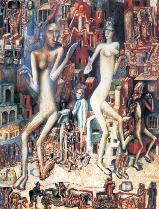 Oil painting:Man and Woman. 1912