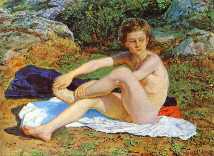 Oil painting:Nude Boy on a White Blanket. 1850