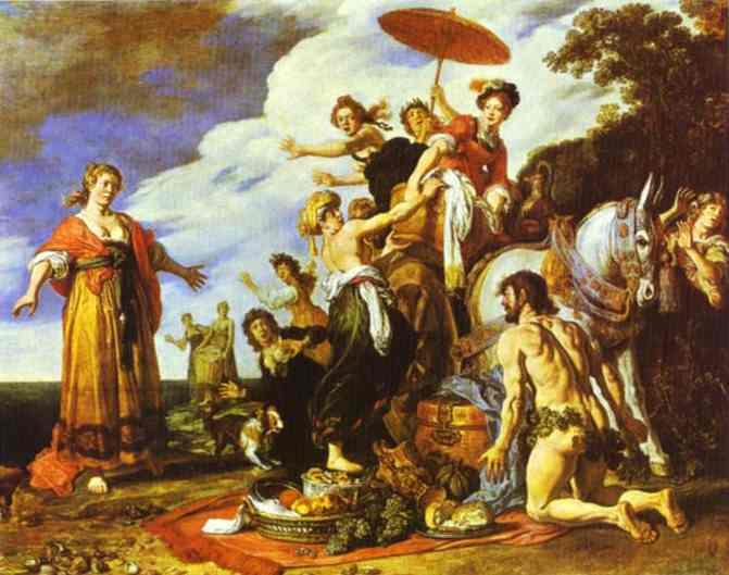 Oil painting:Odysseus and Nausicaa. 1619