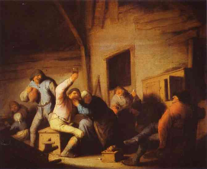 Oil painting:Peasants in a Tavern. c. 1635