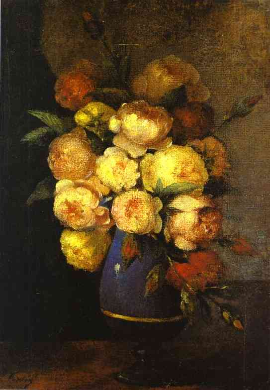 Oil painting:Peonies in a Vase (Bouquet de pivoines). 1864