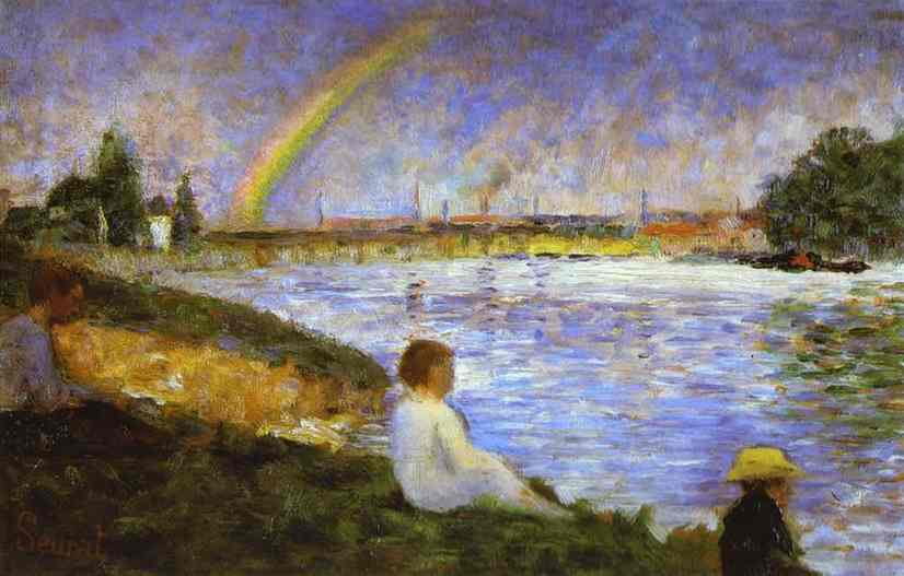 Oil painting:Rainbow. (study for Bathers at Asni