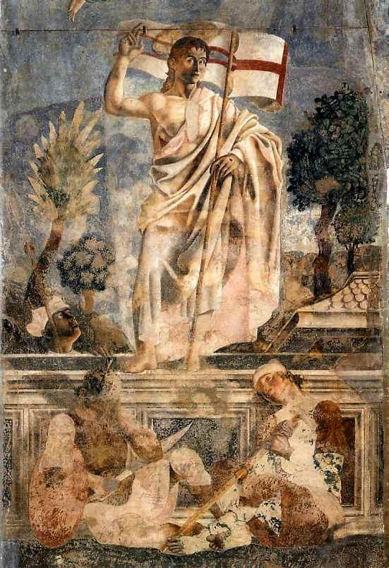 Oil painting:Resurrection. Detail. 1447