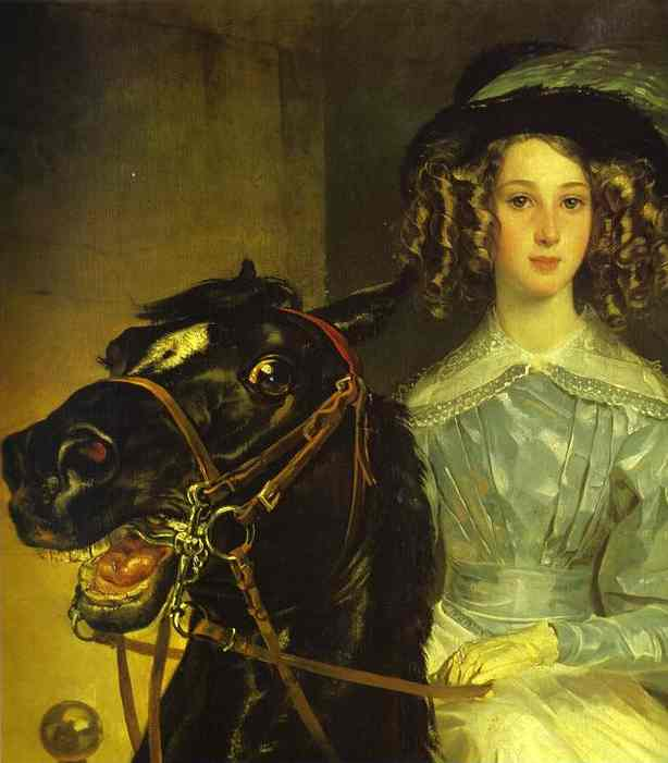 Oil painting:Rider. Detail. Portrait of Giovanina and Amacilia Pacini, the Foster Children of