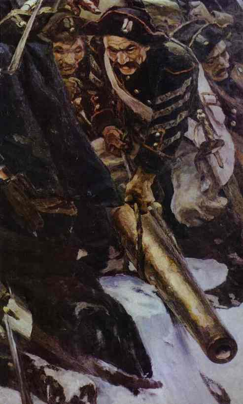 Oil painting:Russian Troops under Suvorov Crossing the Alps. Detail. 1899