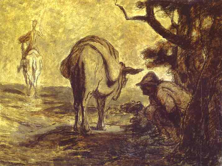 Oil painting:Sancho Pansa Going for a Call of Nature. c. 1855