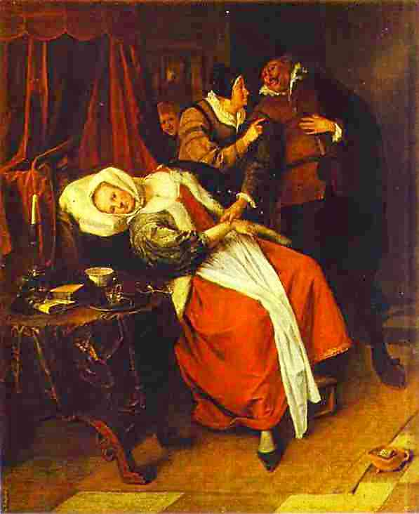 Oil painting:Sick Woman and a Doctor. c. 1660