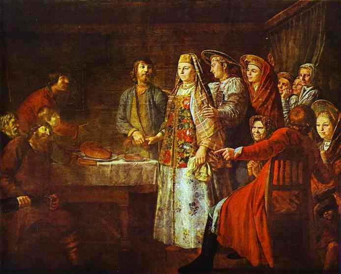 Oil painting:Signing of Marriage Contract. 1777