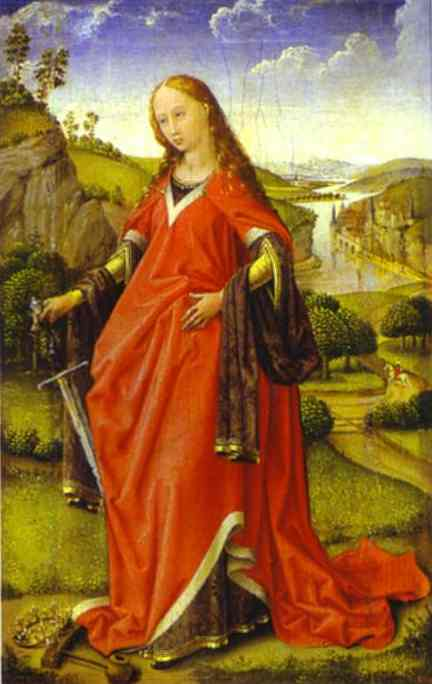 Oil painting:St. Catherine of Alexandria. c.1440