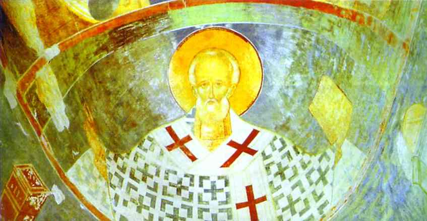 Oil painting:St. Nicolas. Mural in the Church of Nativity of the Virgin in the Pherapontov