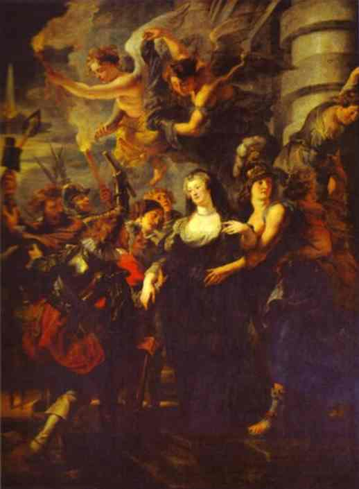 Oil painting:The Flight from Blois. 1621