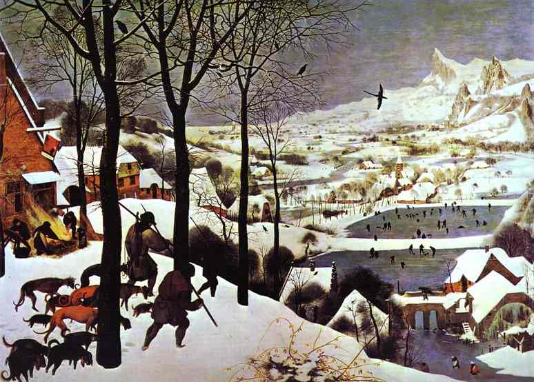 Oil painting:The Hunters in the Snow (January). 1565
