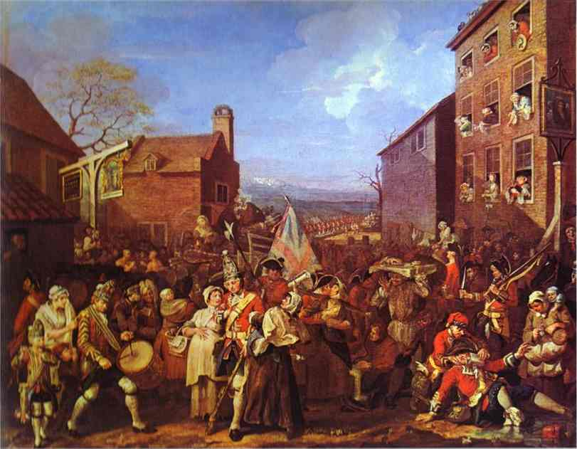 Oil painting:The March to Finchley. 1749