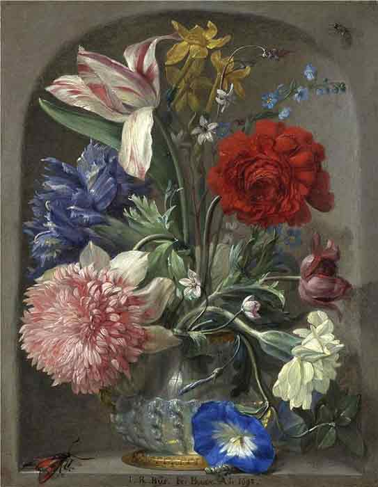 Oil painting for sale:Flowers in a vase in a stone niche 2, 1719