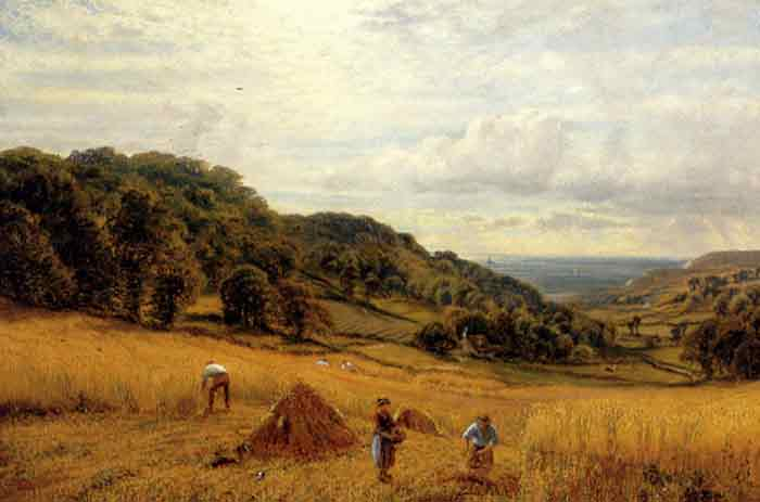 Oil painting for sale:Harvesting At Luccombe, Isle Of Wight, 1870