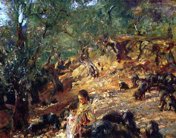Oil painting for sale:Ilex Wood at Majorca with Blue Pigs, 1908