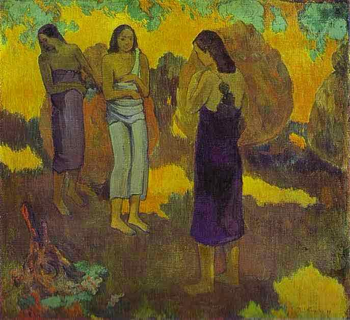 Three Tahitian Women Against a Yellow Background. 1899