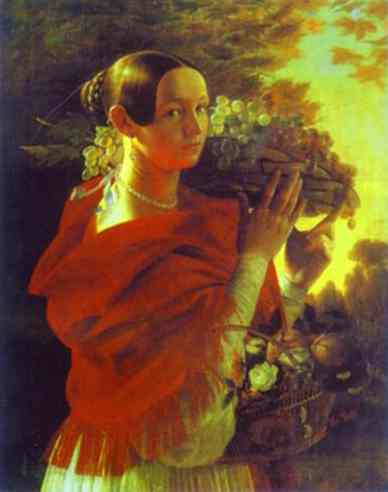 Oil painting:Portrait of an Unknown Woman with Fruit Basket. 1835