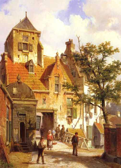Oil painting for sale:A Street Scene in Haarlem