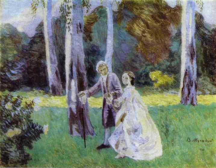 Oil painting:A Walk. 1901