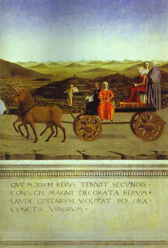 Oil painting:Allegorical Triumph of Federico da Mantefeltro. ca. 1472