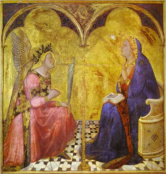 Oil painting:Annunciation. 1344