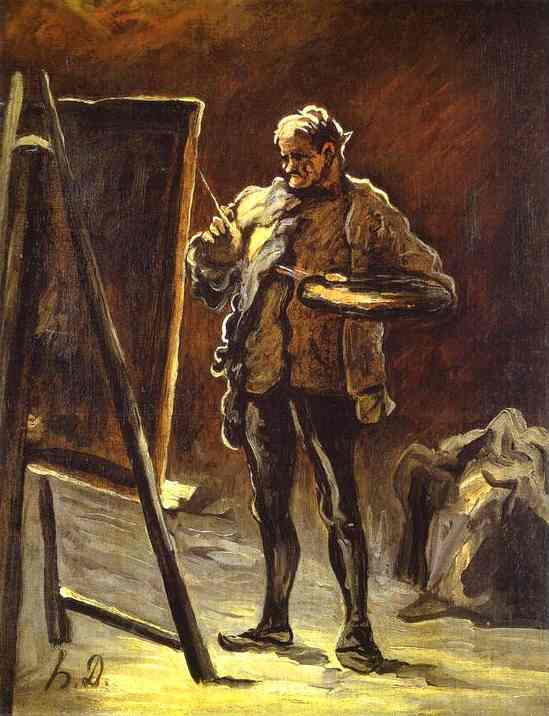 Oil painting:Artist in front of His Canvas. c. 1870