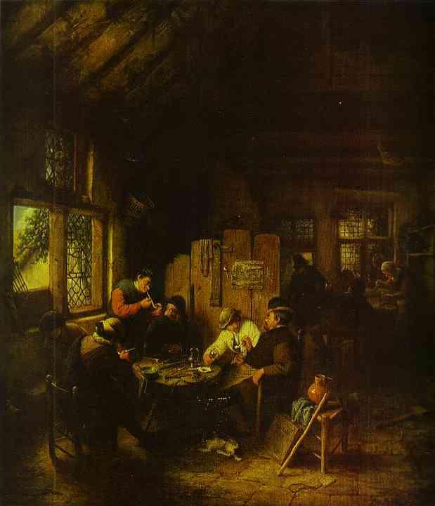 Oil painting:In the Village Inn. 1660