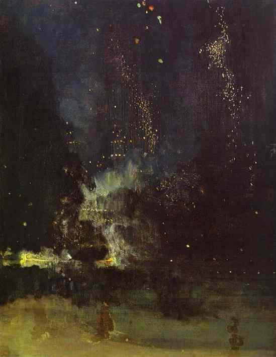 Oil painting:Nocturne in Black and Gold: The Falling Rocket. 1874