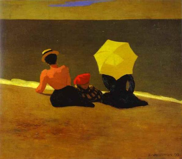 Oil painting:On the Beach/Sur la plage. 1899