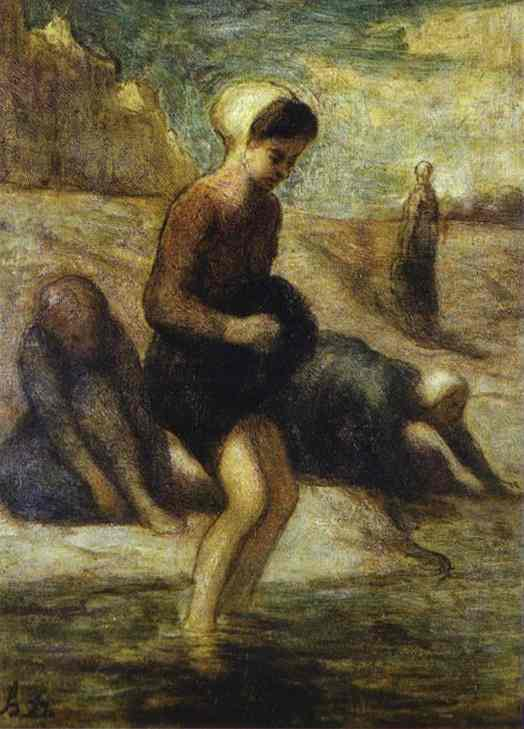Oil painting:On the Shore. c. 1849