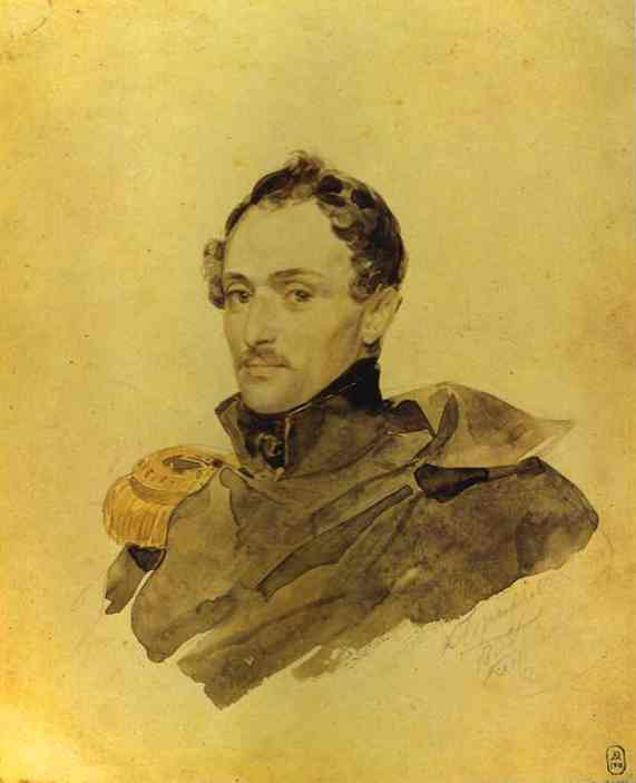 Oil painting:Portrait of Captain A. M. Kostinich. 1835