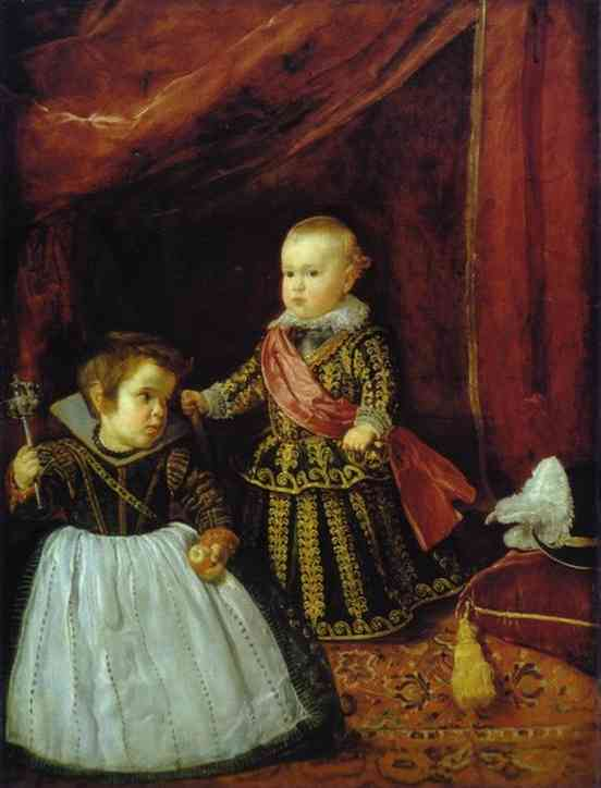 Oil painting:Prince Baltasar Carlos with a Dwarf. 1631