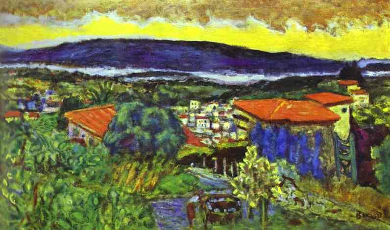 Oil painting:Red Roofs in Cannet, 1942