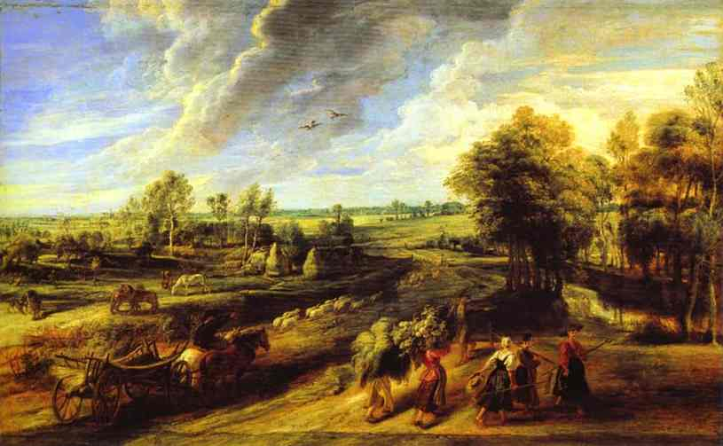 Oil painting:Return of the Peasants from the Fields. 1632-1634