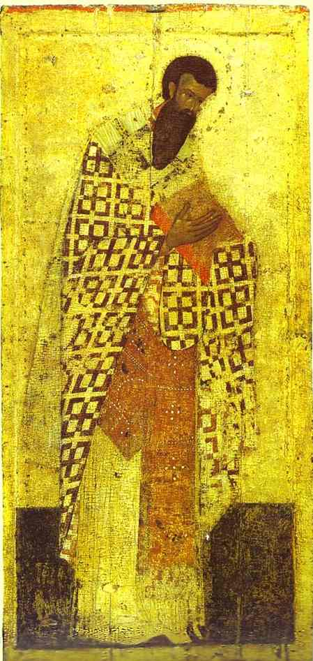 Oil painting:St. Basil the Great. c. 1405