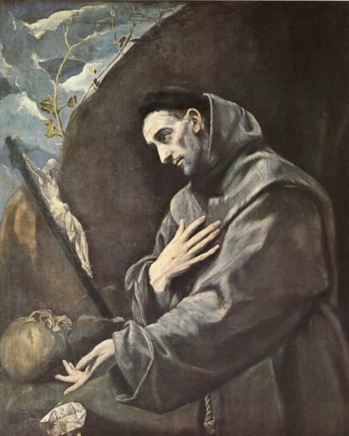 Oil painting:St. Francis in Meditation. c. 1585-1590