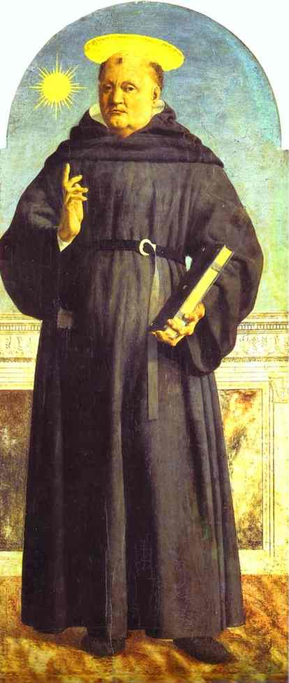 Oil painting:St. Nicholas of Tolentino. 1454