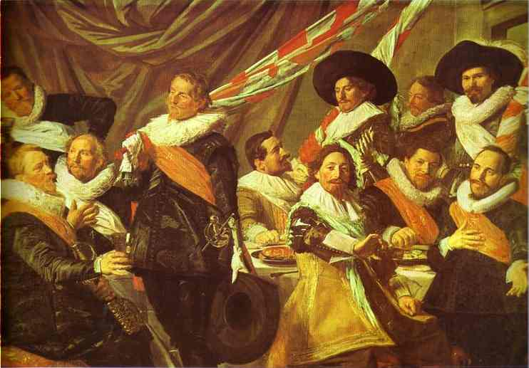 Oil painting:The Banquet of the Officers of the St. George Civic Guard. 1627