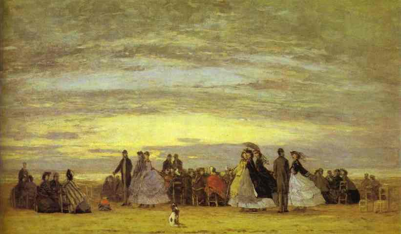 Oil painting:The Beach at Villerville. 1864