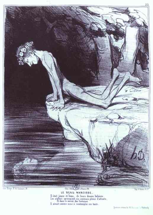 Oil painting:The Beautiful Narcissus. From the Ancient History Series. 1842