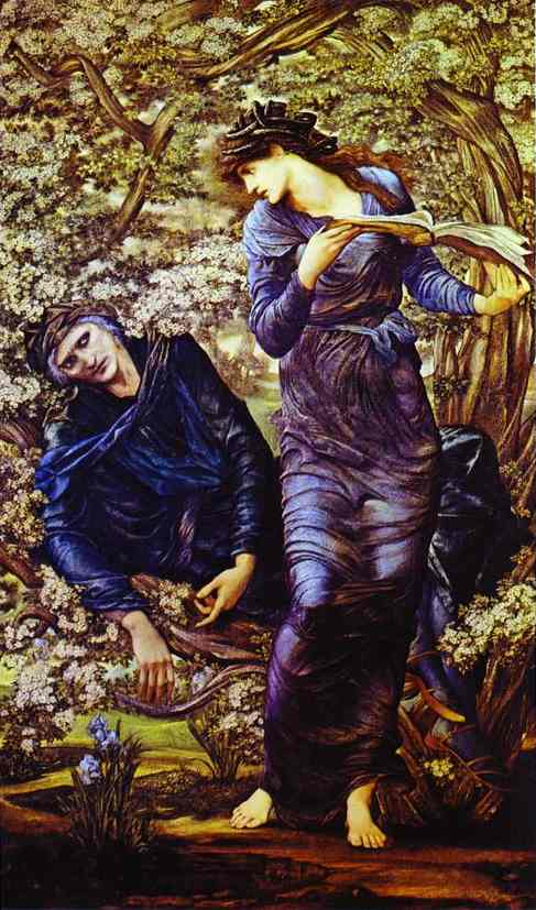 Oil painting:The Beguiling of Merlin (Merlin and Vivien). 1870-1874
